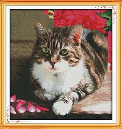 Benway Stamped Cross Stitch Lovely Cat 14 Count  37X39CM