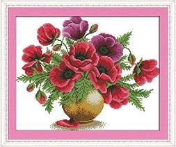 Benway Stamped Cross Stitch Poppy Flowers In Vase 14 Count
