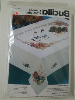 "Bucilla Stamped Cross Stitch Table Cloth 60"" x 104"" Autumn H"