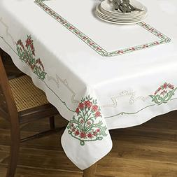 Bucilla Stamped Cross Stitch Table Cloth Kit, Victorian Frie