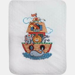 Tobin Stamped For Cross Stitch Baby Quilt Kit Noah's Ark 34""