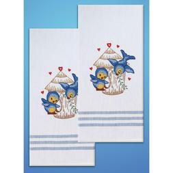 Stamped Kitchen Towels For Embroidery-Bird