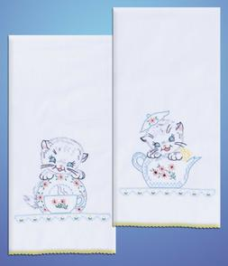 Stamped Kitchen Towels with Kittens Embroidery- 30 x 17