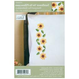 Stamped Pillowcase Pair For Embroidery, Sunflower Yo-Yo, 20""