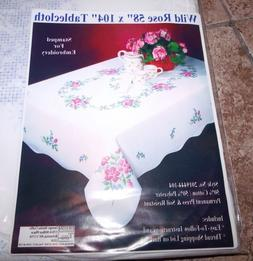 "Tobin Stamped Tablecloth WILD ROSE 58"" x 104""   Embroidery &"
