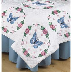 Stamped White Quilt Blocks 18X18 6/Pkg-Butterfly Rose