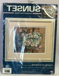 Sunset Counted Cross Stitch Kit #13716 Flowers on Doorknob N