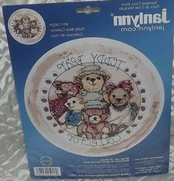 teddy bear collector stamped cross stitch -janlynn