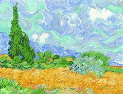 Van Gogh's A Wheatfield W/Cypresses Counted Cross Stitch Kit
