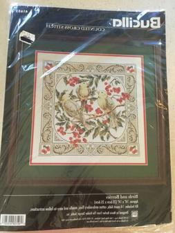 BUCILLA Vintage 1997 Counted Cross Stitch Kit BIRDS & BERRIE