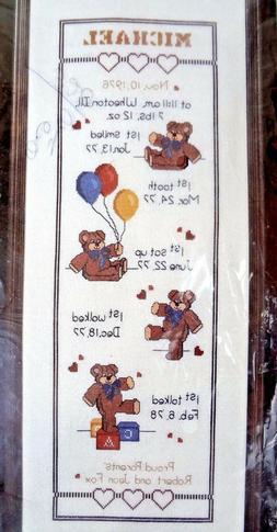 Vintage Janlynn Bear Growth Chart Counted Cross Stitch 39-50