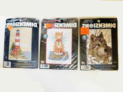 Vintage Dimensions Cross Stitch Kits Winter Wolf, Lighthouse