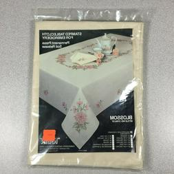 Vtg Tobin Stamped Cross Stitch Embroidery Tablecloth Blossom