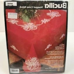 Bucilla White Poinsettias 1998 Stamped Tablecloth Cross Stit