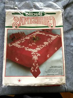 Bucilla White Poinsettias Stamped Tablecloth Cross Stitch  6