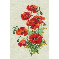 """Wild Poppies Counted Cross Stitch Kit, 8.25"""" x 11.75"""", 16-Co"""