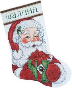 "Winking Santa Stocking Counted Cross Stitch Kit, 17"" Long, 1"