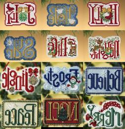 Mill Hill WINTER GREETINGS Charmed Ornaments Counted Cross S